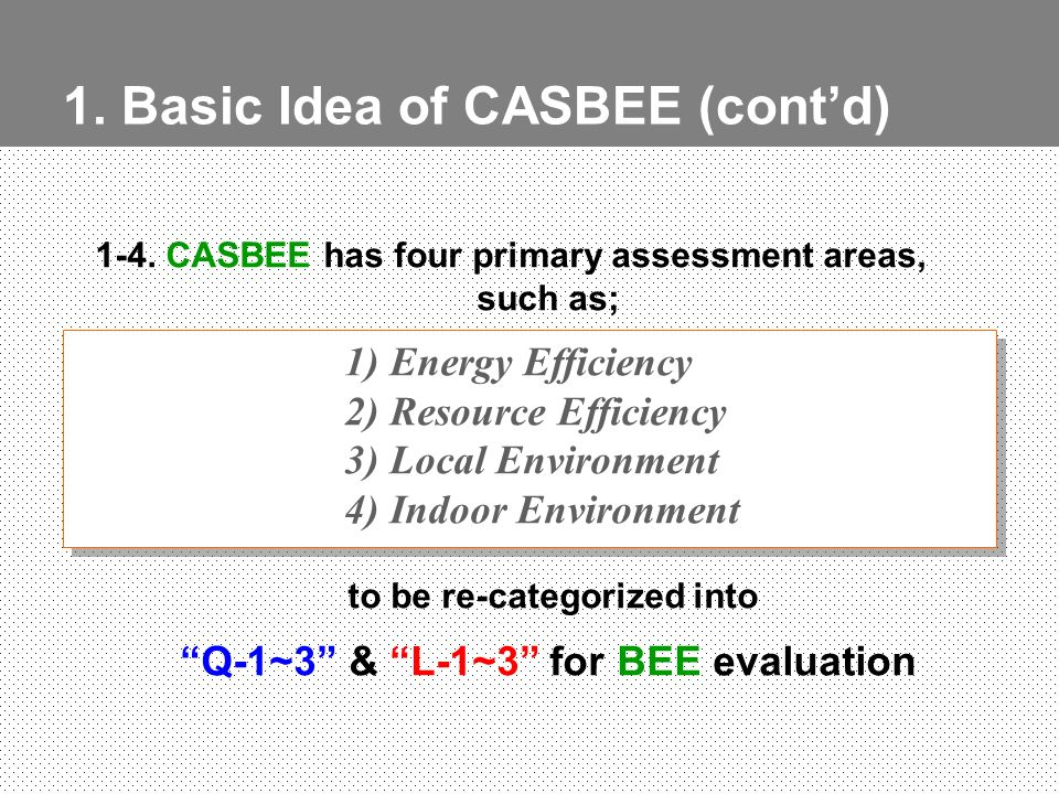 1. Basic Idea of CASBEE (contd) 1-4. CASBEE has four primary assessment areas, such as; 1) Energy Efficiency 2) Resource Efficiency 3) Local Environme