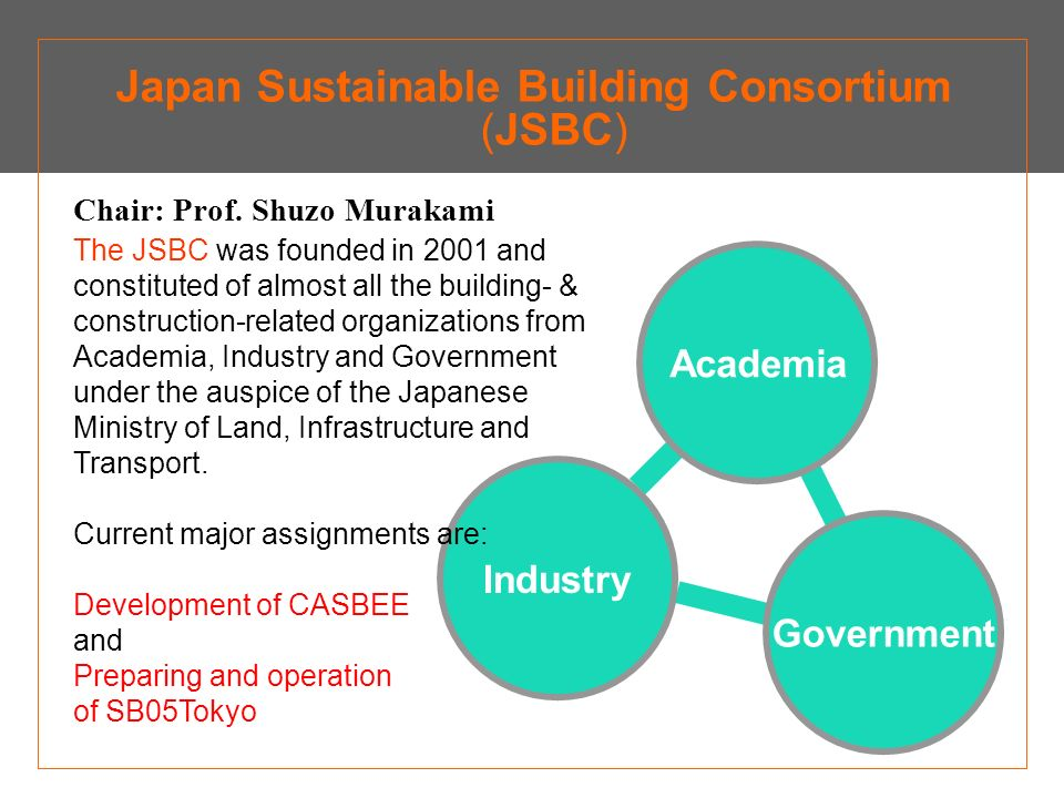 Concept & Dissemination by The Japan Sustainable Building Consortium (JSBC) CASBEE Comprehensive Assessment System for Building Environmental Efficiency