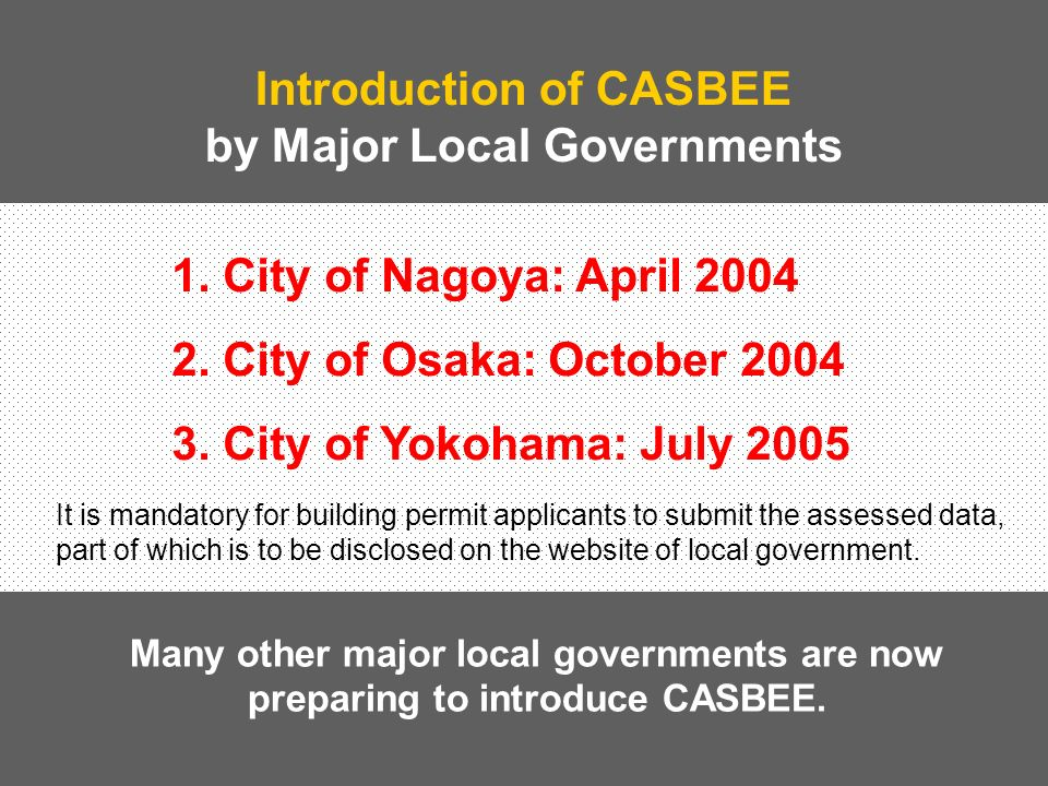 Basic Idea of CASBEE CASBEE is a comprehensive, but clear, simple & affordable system to assess the building sustainability through both 1.