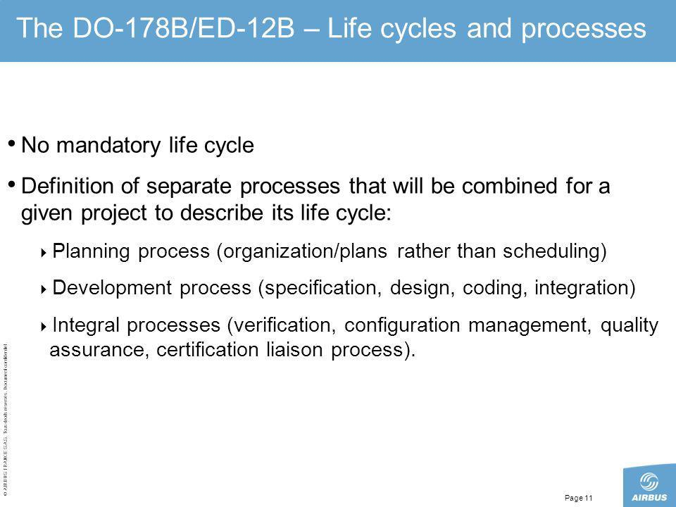 © AIRBUS FRANCE S.A.S. Tous droits réservés. Document confidentiel. Page 11 The DO-178B/ED-12B – Life cycles and processes No mandatory life cycle Def