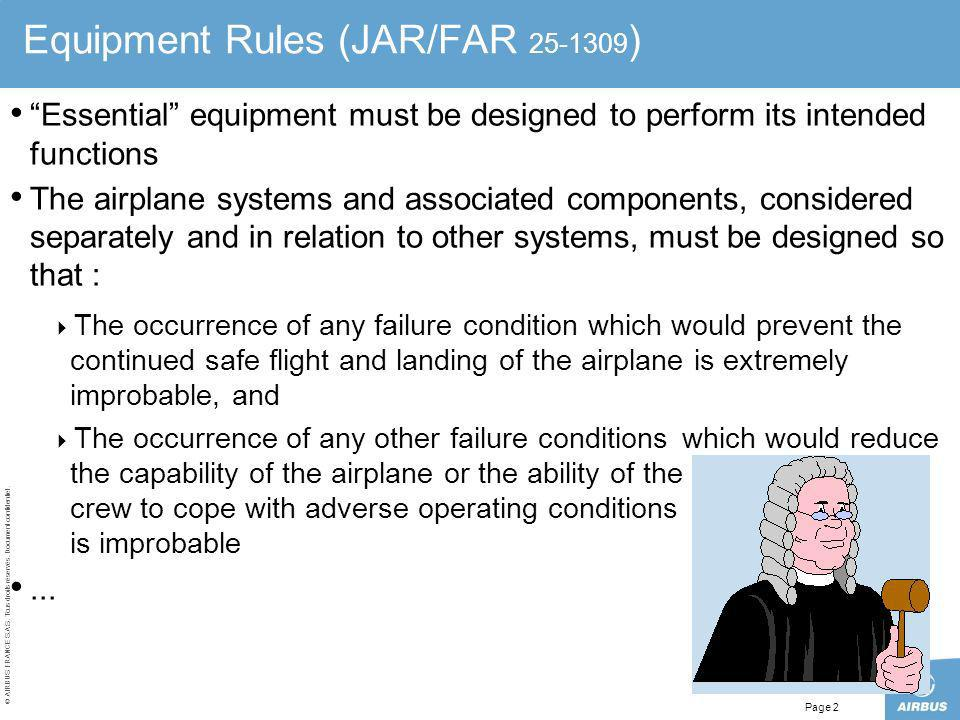 © AIRBUS FRANCE S.A.S. Tous droits réservés. Document confidentiel. Page 2 Equipment Rules (JAR/FAR 25-1309 ) Essential equipment must be designed to