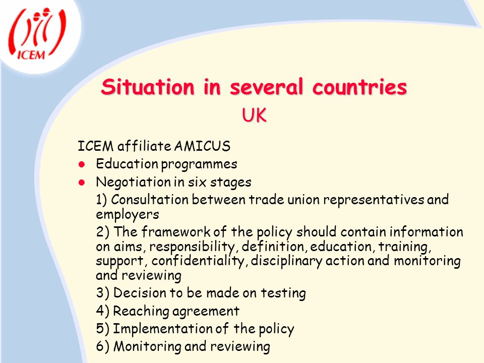 Situation in several countries ICEM affiliate AMICUS Education programmes Negotiation in six stages 1) Consultation between trade union representative