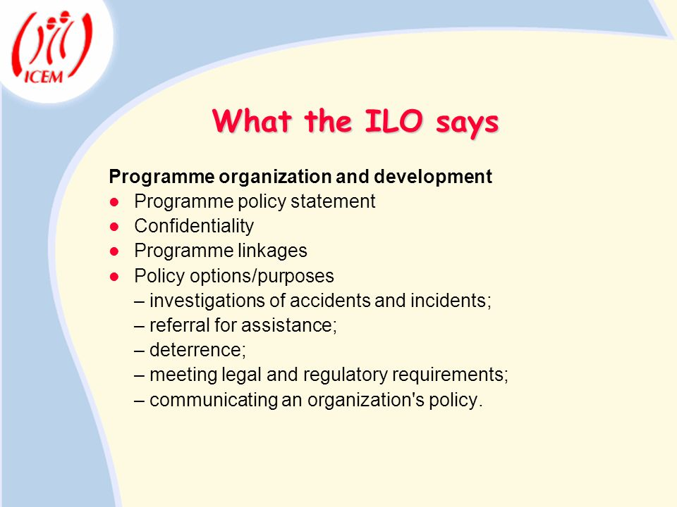 What the ILO says Programme organization and development Programme policy statement Confidentiality Programme linkages Policy options/purposes – inves