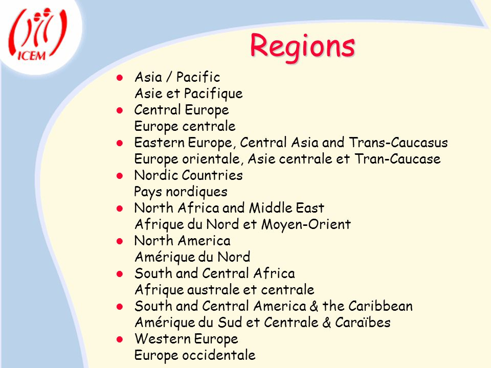 Regions Asia / Pacific Asie et Pacifique Central Europe Europe centrale Eastern Europe, Central Asia and Trans-Caucasus Europe orientale, Asie central