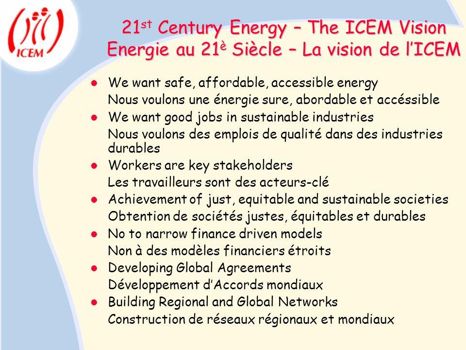 21 st Century Energy – The ICEM Vision Energie au 21 è Siècle – La vision de lICEM We want safe, affordable, accessible energy Nous voulons une énergi
