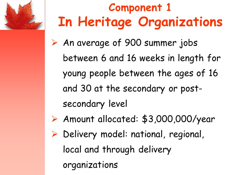 Component 1 In Heritage Organizations An average of 900 summer jobs between 6 and 16 weeks in length for young people between the ages of 16 and 30 at