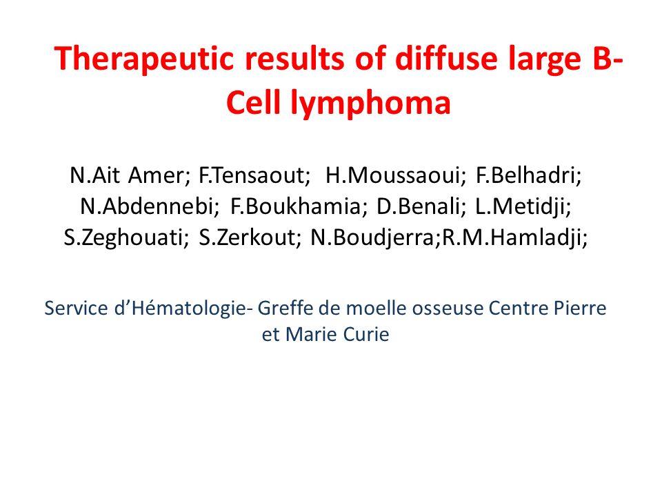 Therapeutic results of diffuse large B- Cell lymphoma N.Ait Amer; F.Tensaout; H.Moussaoui; F.Belhadri; N.Abdennebi; F.Boukhamia; D.Benali; L.Metidji;