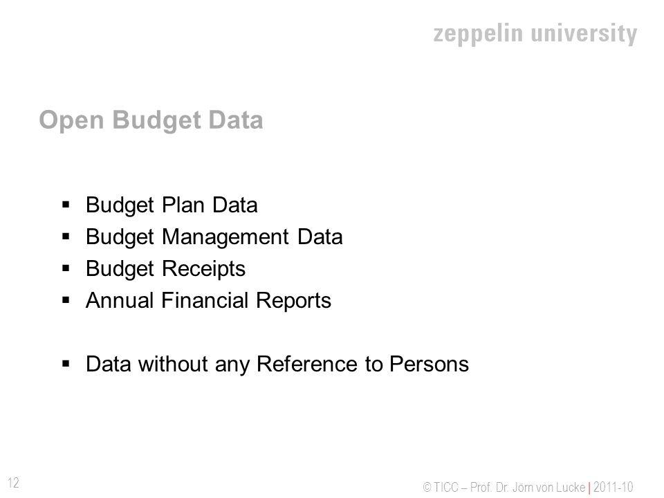 © TICC – Prof. Dr. Jörn von Lucke | 2011-10 Open Budget Data Budget Plan Data Budget Management Data Budget Receipts Annual Financial Reports Data wit