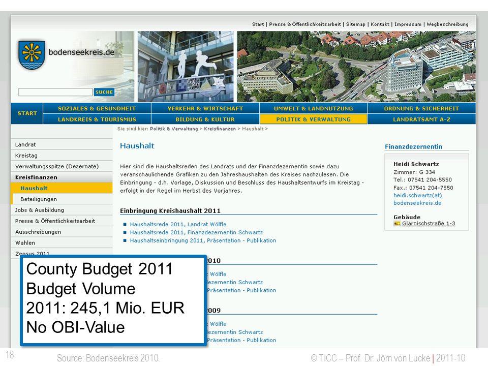 © TICC – Prof. Dr. Jörn von Lucke | 2011-10 Offene Haushaltsdaten - Bodenseekreis 18 Source: Bodenseekreis 2010. County Budget 2011 Budget Volume 2011