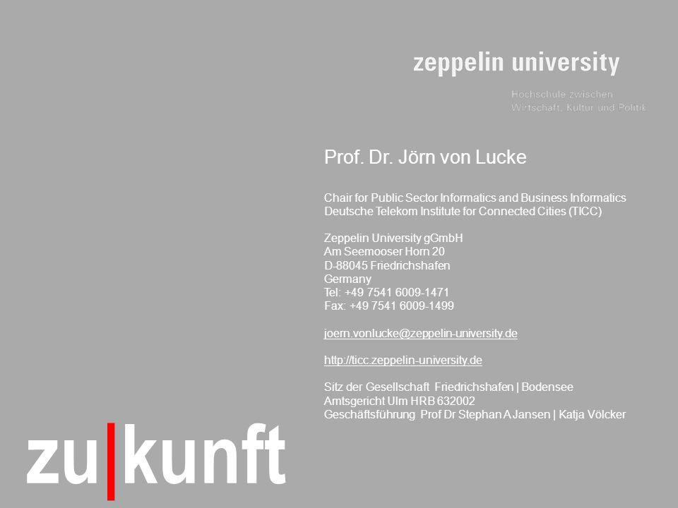 © TICC – Prof. Dr. Jörn von Lucke | 2011-10 21 zu|kunft Prof. Dr. Jörn von Lucke Chair for Public Sector Informatics and Business Informatics Deutsche