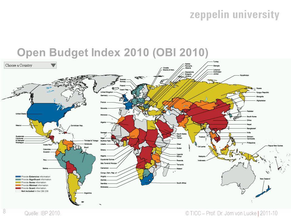 © TICC – Prof. Dr. Jörn von Lucke | 2011-10 Open Budget Index 2010 (OBI 2010) Quelle: IBP 2010. 8