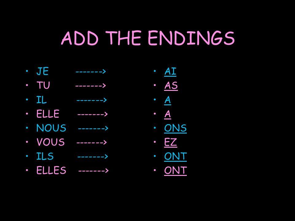 ADD THE ENDINGS JE -------> TU -------> IL -------> ELLE -------> NOUS -------> VOUS -------> ILS -------> ELLES -------> AI AS A A ONS EZ ONT