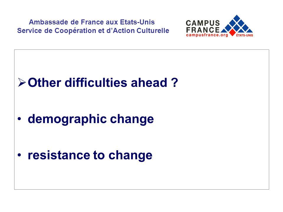 Ambassade de France aux Etats-Unis Service de Coopération et dAction Culturelle Other difficulties ahead ? demographic change resistance to change