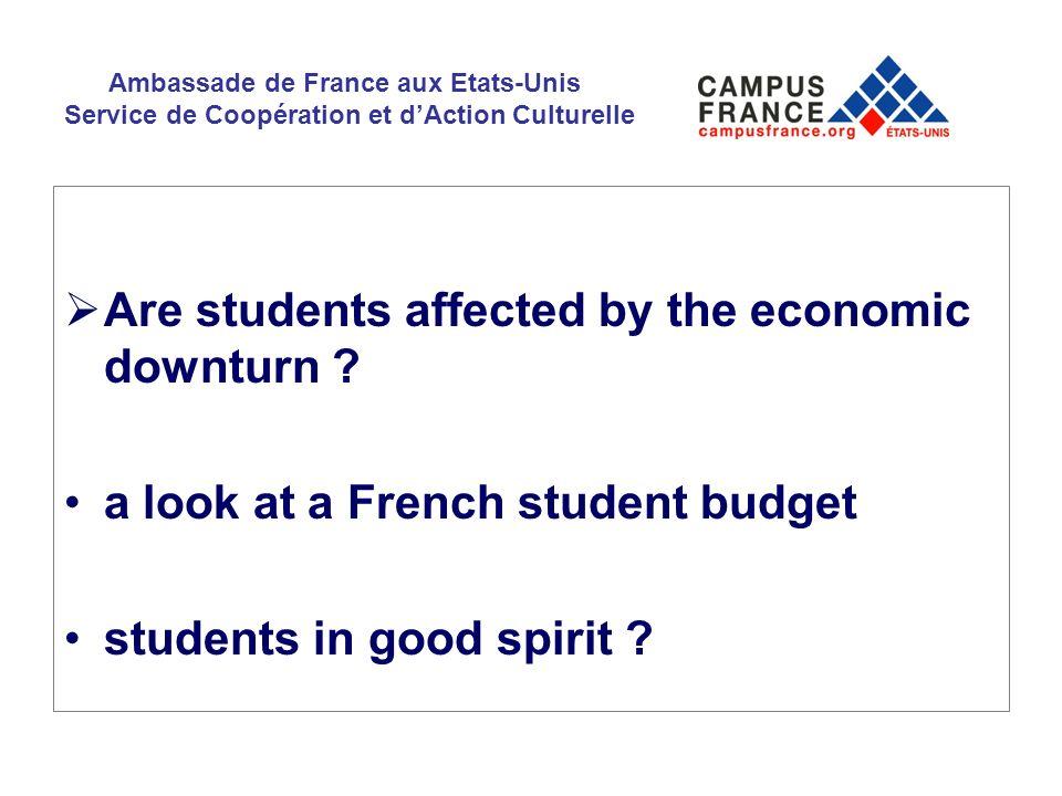 Ambassade de France aux Etats-Unis Service de Coopération et dAction Culturelle Are students affected by the economic downturn ? a look at a French st