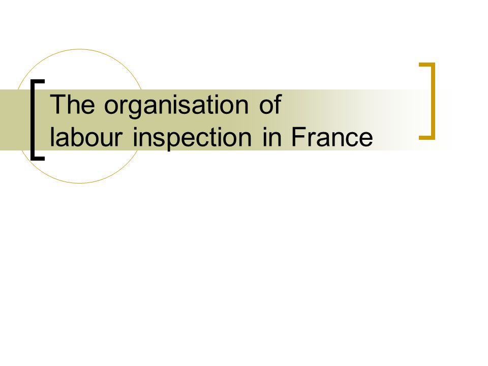 The organisation of labour inspection in France