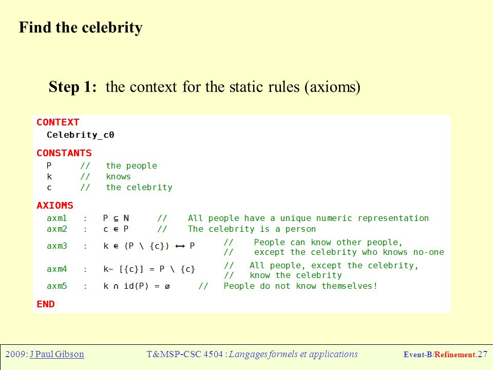 2009: J Paul GibsonT&MSP-CSC 4504 : Langages formels et applications Event-B/Refinement.27 Find the celebrity Step 1: the context for the static rules (axioms)
