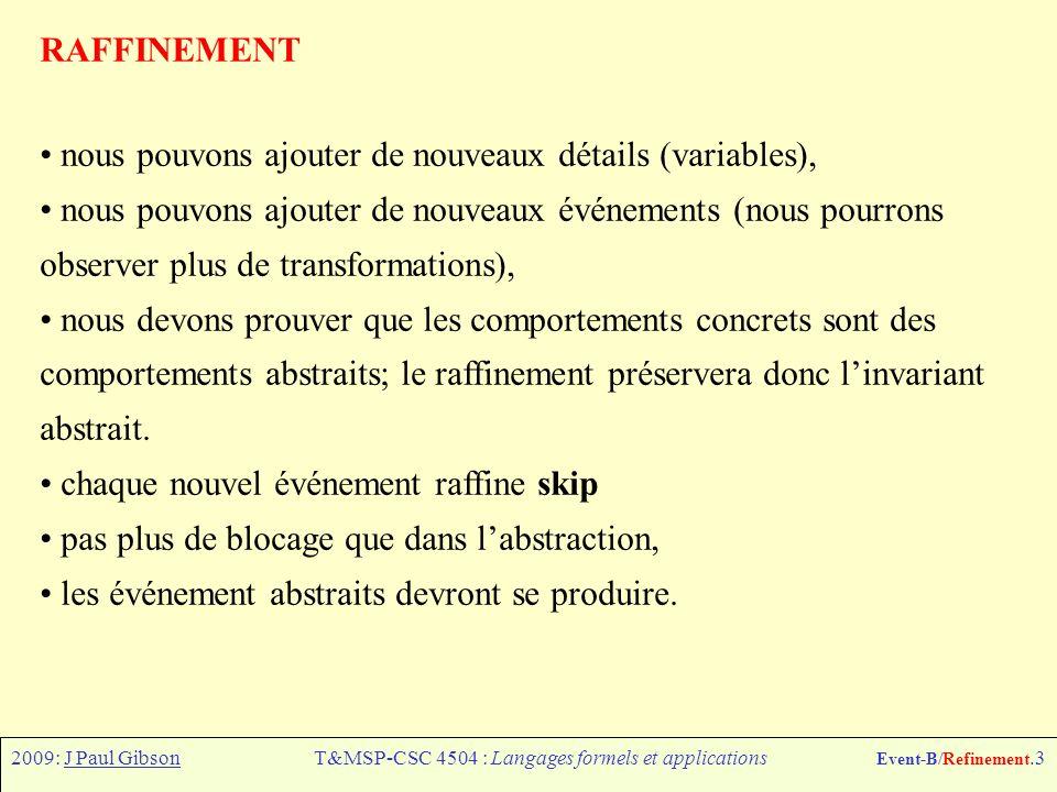 2009: J Paul GibsonT&MSP-CSC 4504 : Langages formels et applications Event-B/Refinement.3 RAFFINEMENT nous pouvons ajouter de nouveaux détails (variables), nous pouvons ajouter de nouveaux événements (nous pourrons observer plus de transformations), nous devons prouver que les comportements concrets sont des comportements abstraits; le raffinement préservera donc linvariant abstrait.