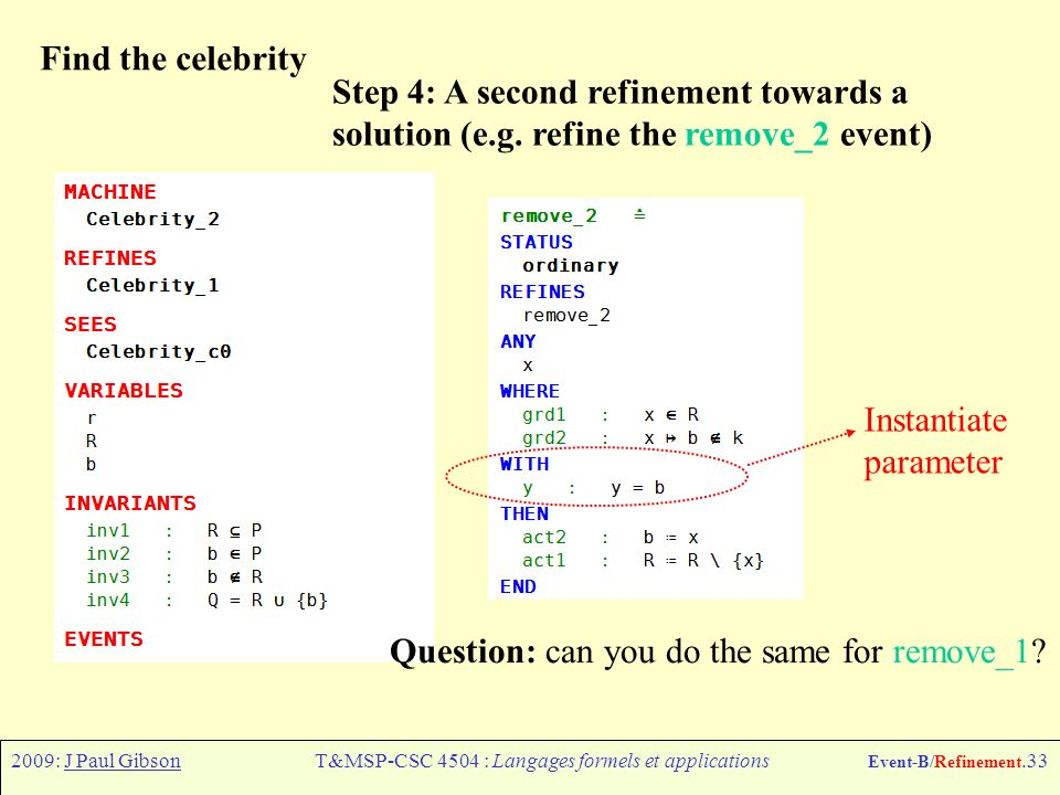 2009: J Paul GibsonT&MSP-CSC 4504 : Langages formels et applications Event-B/Refinement.33 Find the celebrity Step 4: A second refinement towards a solution (e.g.