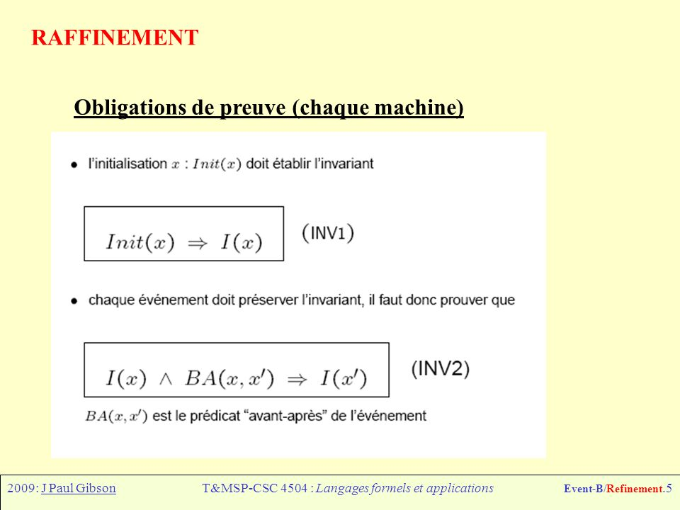 2009: J Paul GibsonT&MSP-CSC 4504 : Langages formels et applications Event-B/Refinement.5 RAFFINEMENT Obligations de preuve (chaque machine)