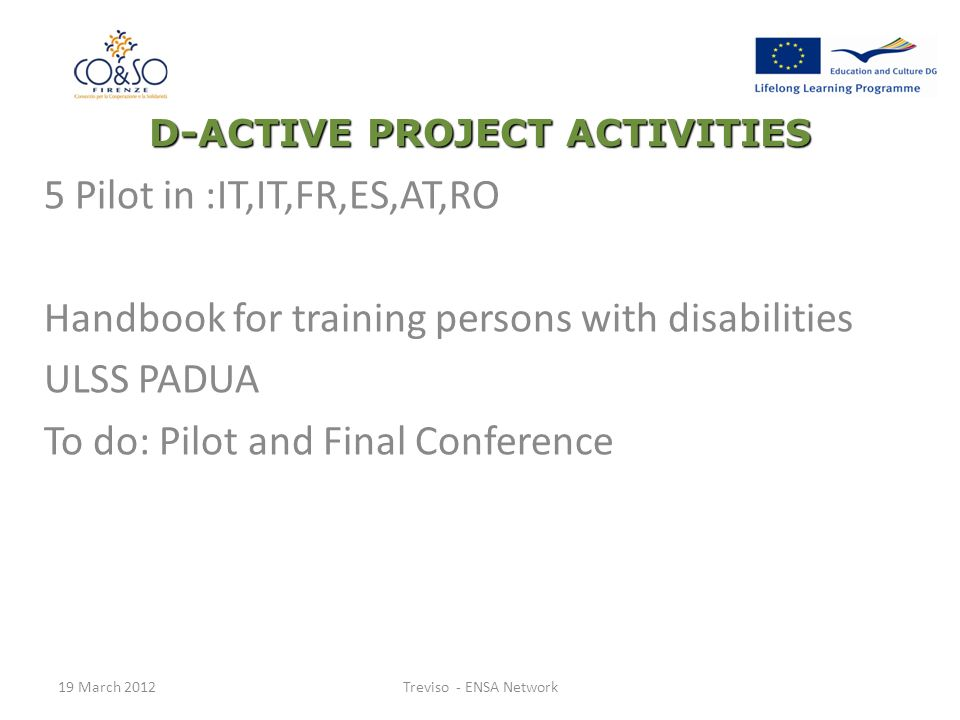 D-ACTIVE PROJECT ACTIVITIES 5 Pilot in :IT,IT,FR,ES,AT,RO Handbook for training persons with disabilities ULSS PADUA To do: Pilot and Final Conference 19 March 2012Treviso - ENSA Network