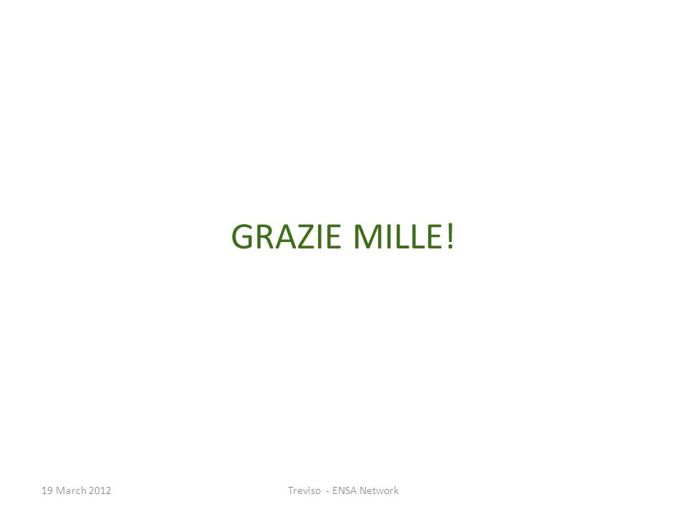GRAZIE MILLE! 19 March 2012Treviso - ENSA Network