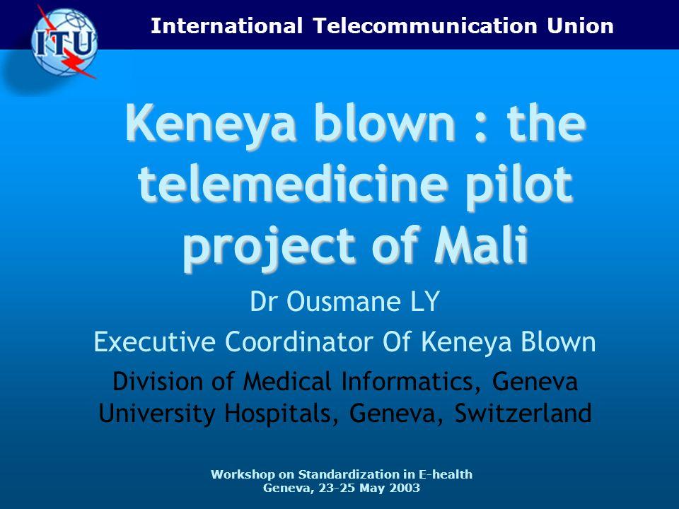International Telecommunication Union Workshop on Standardization in E-health Geneva, 23-25 May 2003 Keneya blown : the telemedicine pilot project of