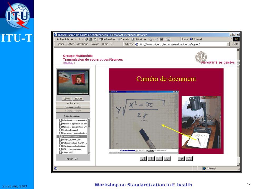 ITU-T 19 23-25 May 2003 Workshop on Standardization in E-health