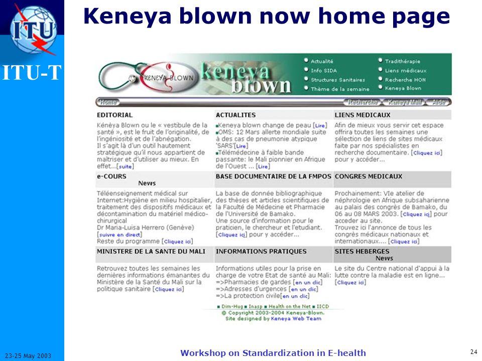 ITU-T 24 23-25 May 2003 Workshop on Standardization in E-health Keneya blown now home page