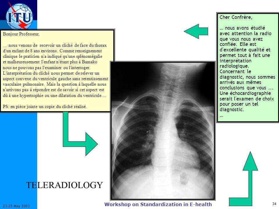 ITU-T 34 23-25 May 2003 Workshop on Standardization in E-health Bonjour Professeur, … nous venons de recevoir un cliché de face du thorax d'un enfant