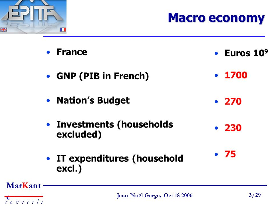 Page 3 Jean-Noël Gorge 3 mai /58 MarKant e c o n s e i l s Jean-Noël Gorge, Oct /29 Macro economy France GNP (PIB in French) Nations Budget Investments (households excluded) IT expenditures (household excl.) Euros