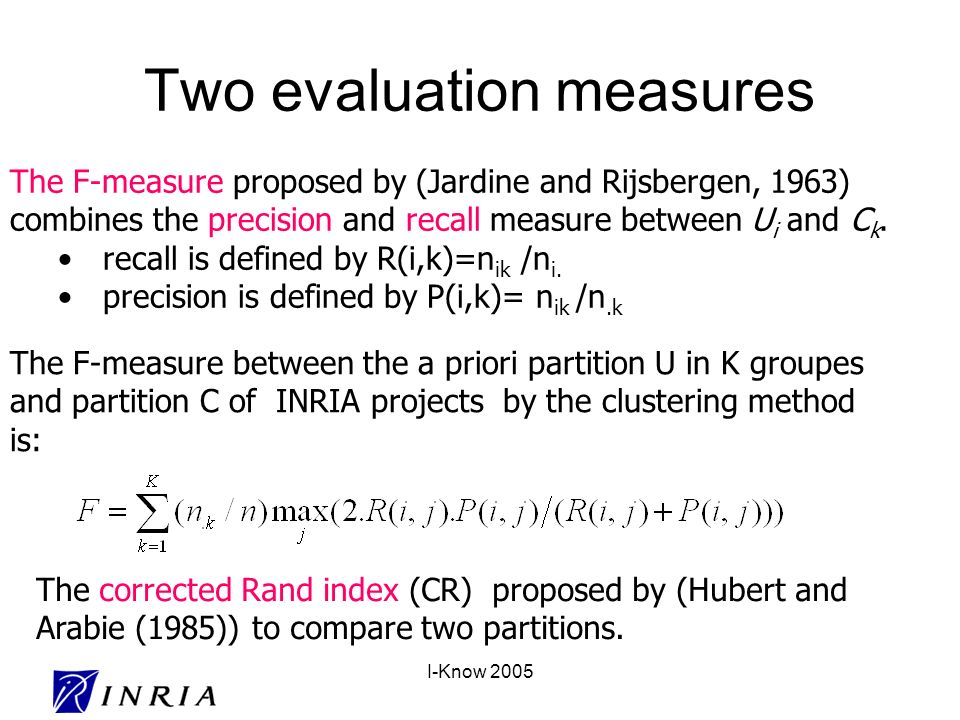 I-Know 2005 Two evaluation measures The F-measure proposed by (Jardine and Rijsbergen, 1963) combines the precision and recall measure between U i and C k.