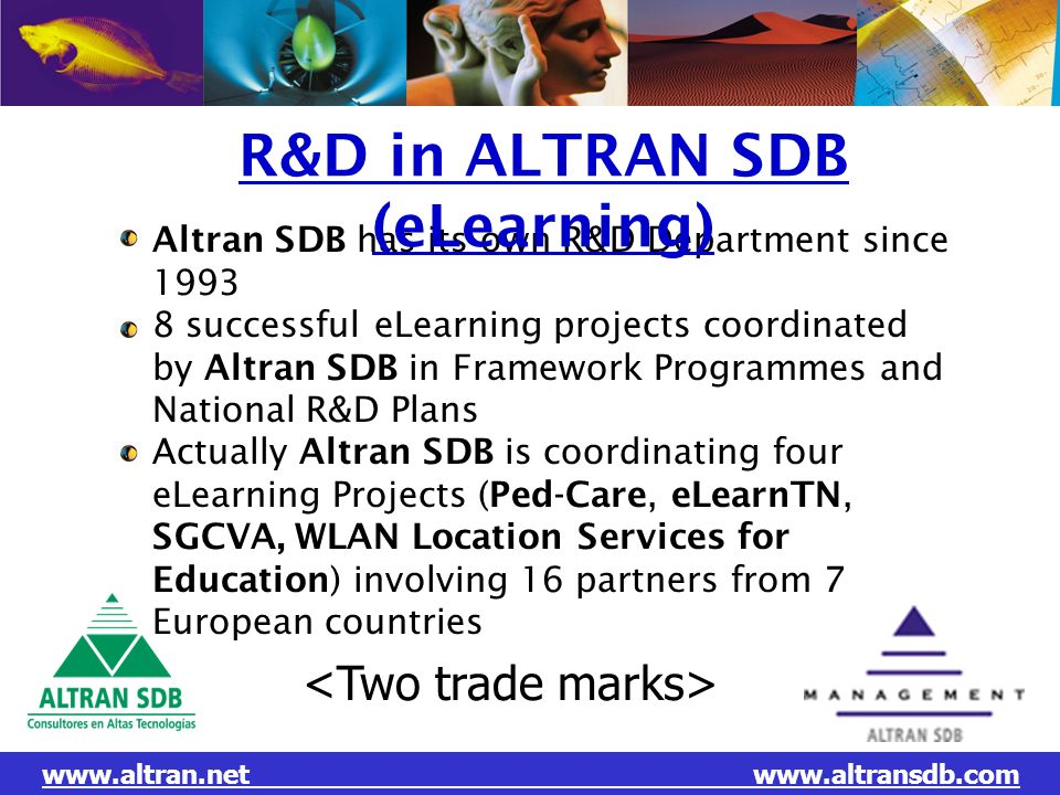 L EVOLUTION DU GROUPE N O T R E M E T I E R: altran.net Altran SDB has its own R&D Department since 1993 8 successful eLearning projects coordinated b