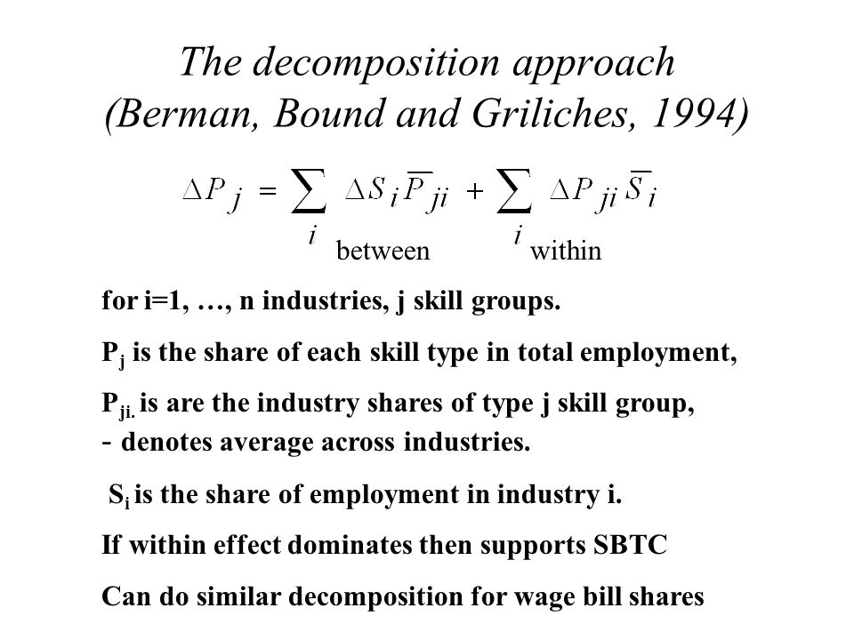 The decomposition approach (Berman, Bound and Griliches, 1994) for i=1, …, n industries, j skill groups.