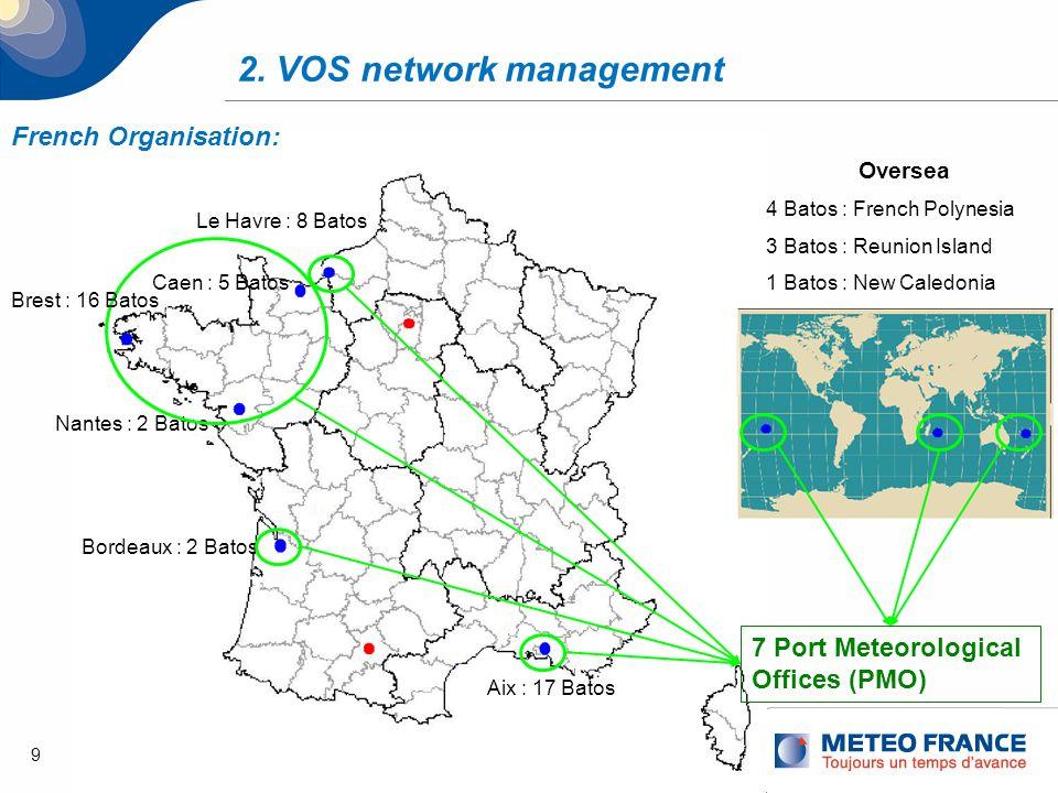 9 2. VOS network management Caen : 5 Batos Le Havre : 8 Batos Aix : 17 Batos Nantes : 2 Batos Bordeaux : 2 Batos Oversea 4 Batos : French Polynesia 3