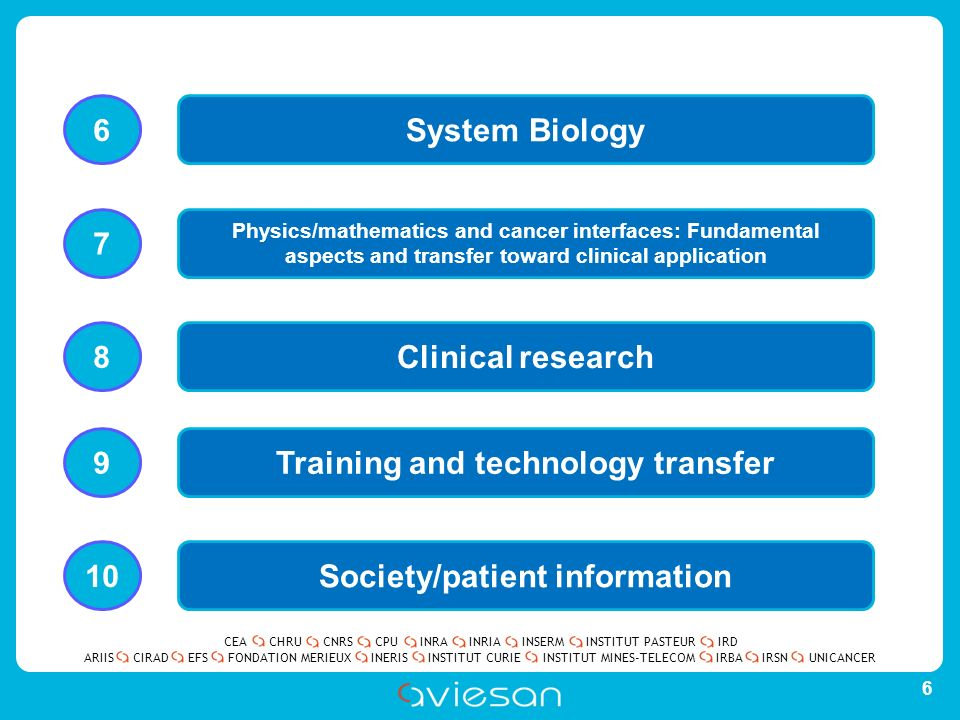 CEACHRUCNRSCPUINRAINRIAINSERMINSTITUT PASTEURIRD ARIISEFSINERISINSTITUT CURIEINSTITUT MINES-TELECOMUNICANCERIRBAIRSNCIRADFONDATION MERIEUX 6 System Biology Physics/mathematics and cancer interfaces: Fundamental aspects and transfer toward clinical application Clinical research Training and technology transfer Society/patient information