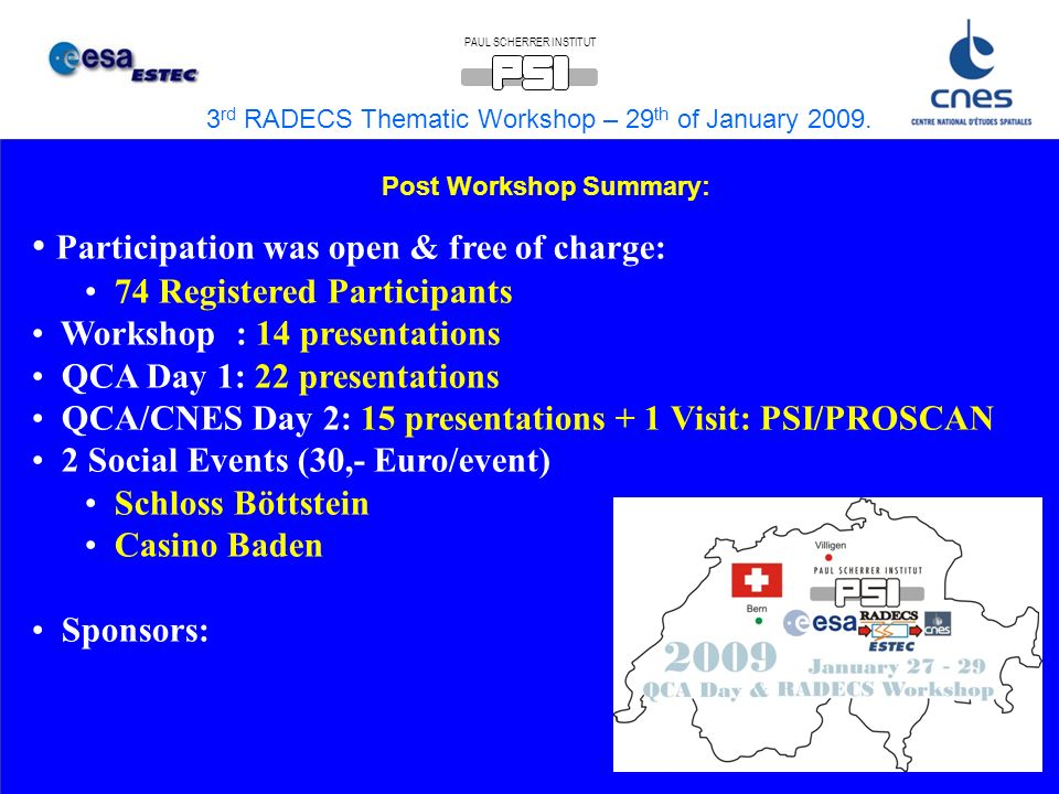 3 rd RADECS Thematic Workshop – 29 th of January 2009.