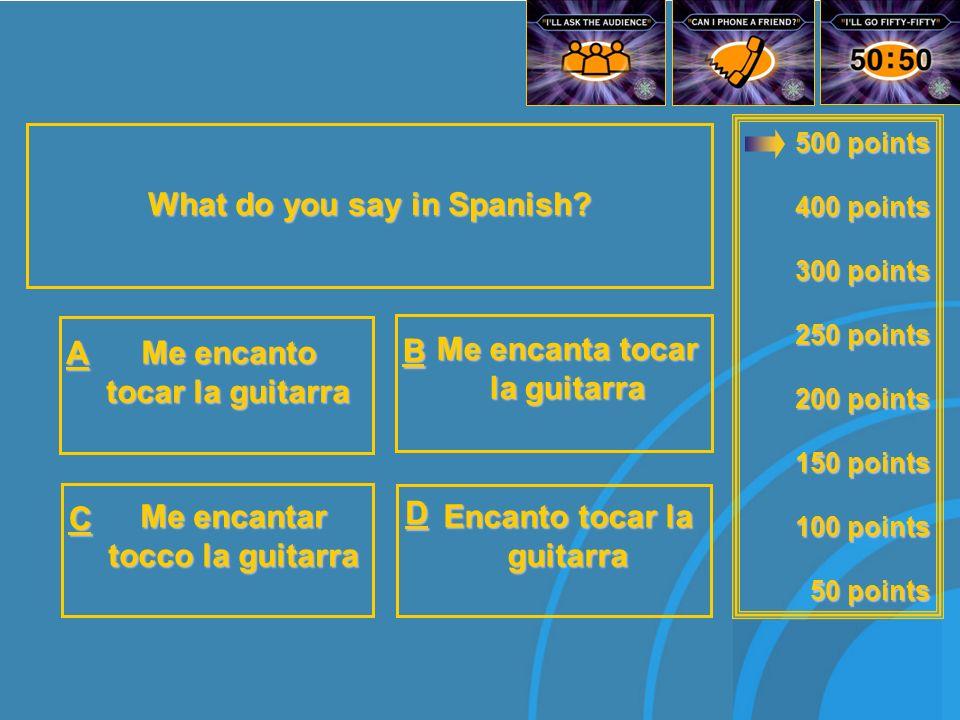 500 points 400 points 300 points 250 points 200 points 150 points 100 points 50 points What does¿Qué deportes practicas.