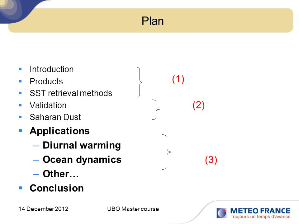 14 December 2012UBO Master course Plan Introduction Products SST retrieval methods Validation Saharan Dust Applications –Diurnal warming –Ocean dynami