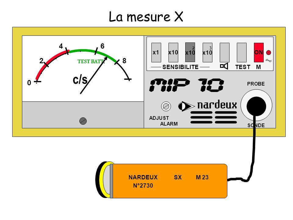 La mesure X x1x10 SENSIBILITE 2 x10 3 x10 TEST ON ADJUST ALARM PROBE SONDE M 0 2 46 8 TEST BATT. c/s NARDEUX SX M 23 N°2730