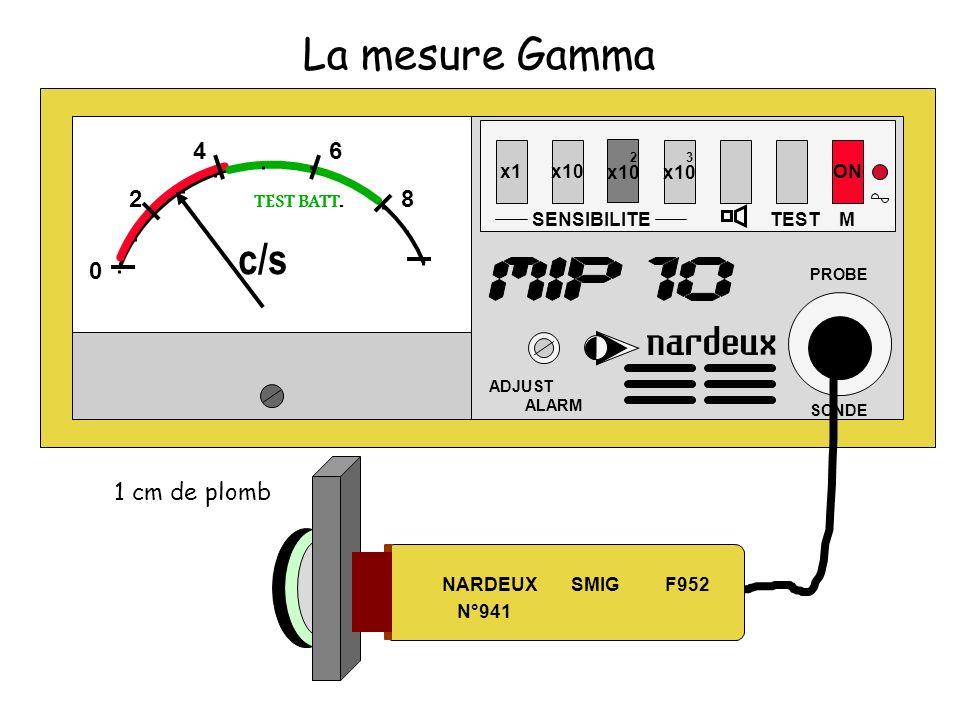 La mesure Gamma x1x10 SENSIBILITE 2 x10 3 x10 TEST ON ADJUST ALARM PROBE SONDE M 0 2 46 8 TEST BATT. c/s NARDEUX SMIG F952 N°941 1 cm de plomb
