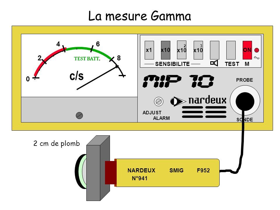 La mesure Gamma x1x10 SENSIBILITE 2 x10 3 x10 TEST ON ADJUST ALARM PROBE SONDE M 0 2 46 8 TEST BATT. c/s NARDEUX SMIG F952 N°941 2 cm de plomb
