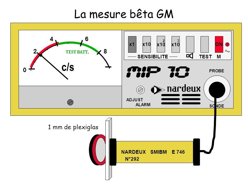 x1x10 SENSIBILITE 2 x10 3 x10 TEST ON ADJUST ALARM PROBE SONDE M 0 2 46 8 TEST BATT. c/s La mesure bêta GM NARDEUX SMIBM E 746 N°292 1 mm de plexiglas