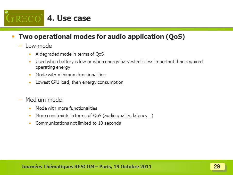 29 Two operational modes for audio application (QoS) –Low mode A degraded mode in terms of QoS Used when battery is low or when energy harvested is le