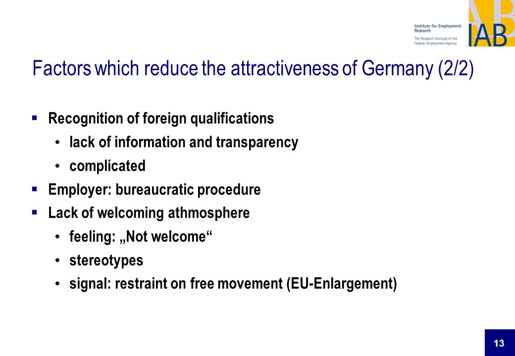 13 Factors which reduce the attractiveness of Germany (2/2) Recognition of foreign qualifications lack of information and transparency complicated Emp