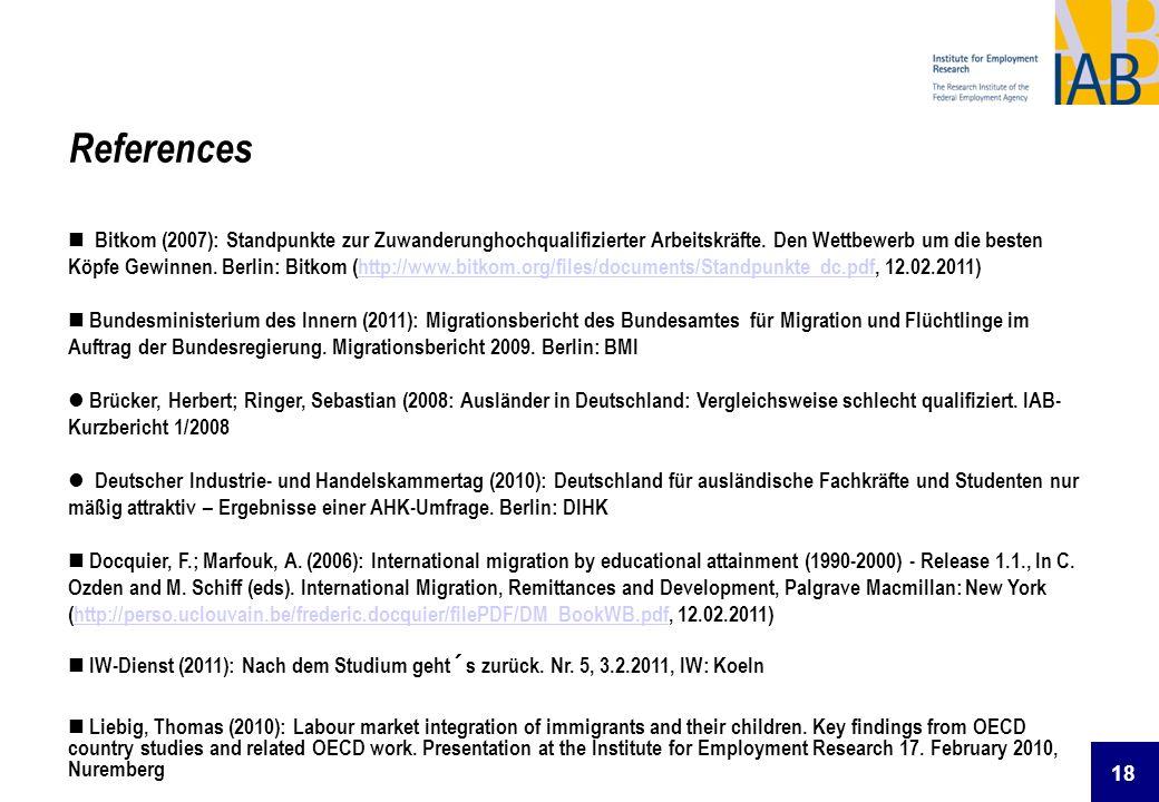 18 References Bitkom (2007): Standpunkte zur Zuwanderunghochqualifizierter Arbeitskräfte. Den Wettbewerb um die besten Köpfe Gewinnen. Berlin: Bitkom