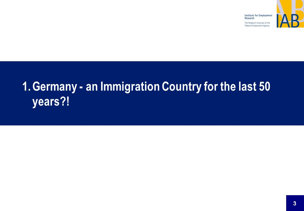 3 1.Germany - an Immigration Country for the last 50 years?!