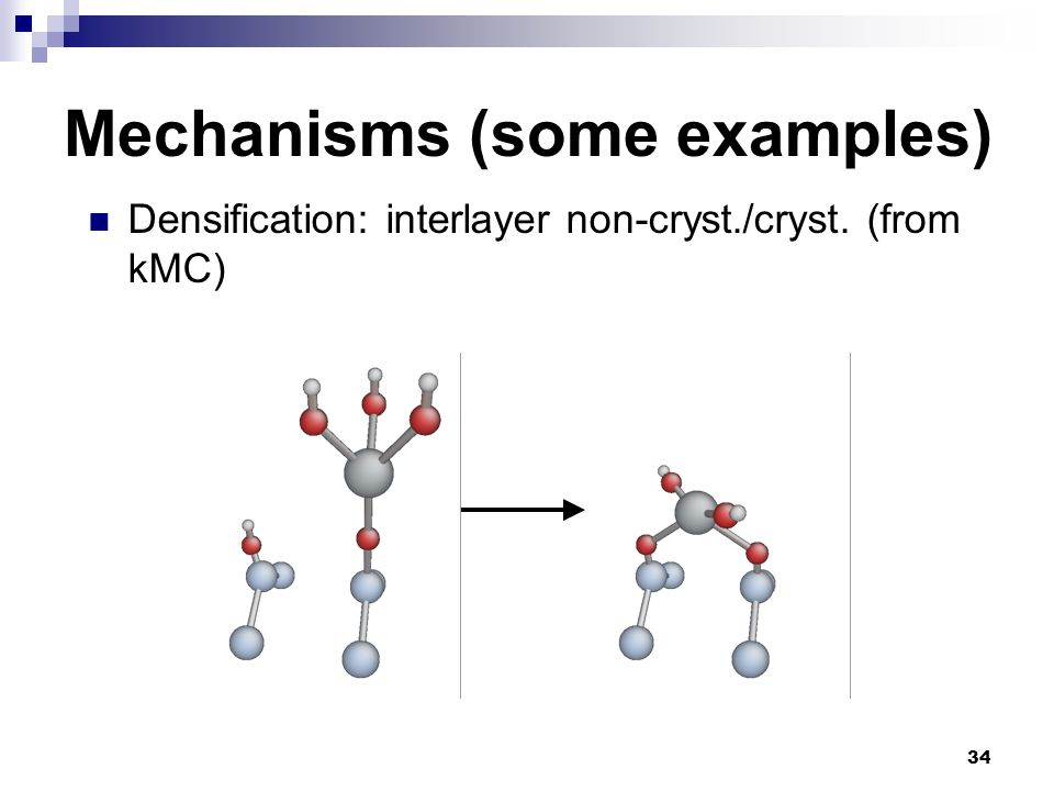 34 Mechanisms (some examples) Densification: interlayer non-cryst./cryst. (from kMC)