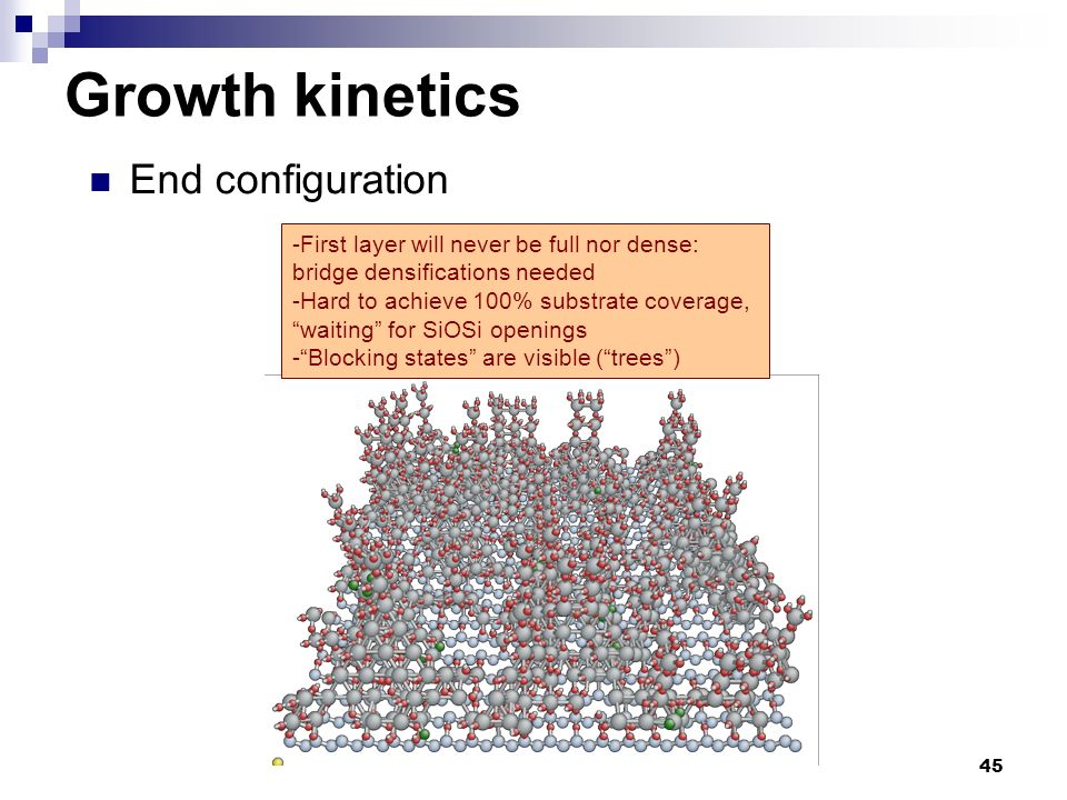 45 End configuration Growth kinetics -First layer will never be full nor dense: bridge densifications needed -Hard to achieve 100% substrate coverage,