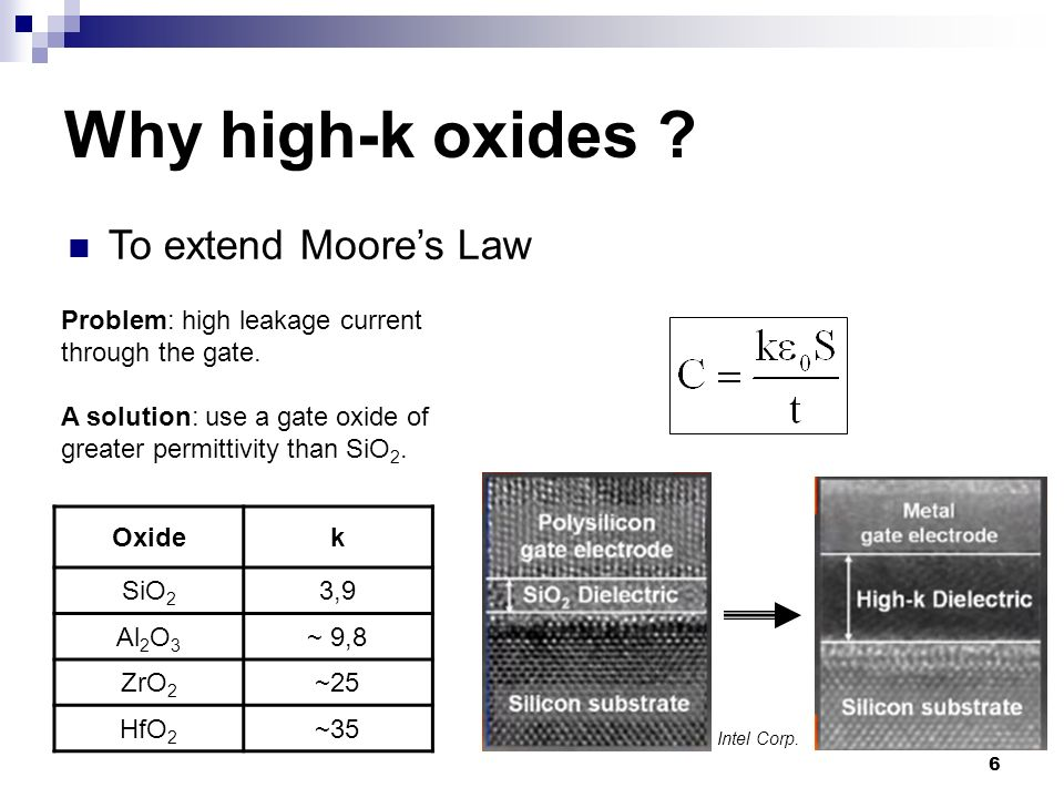 6 Problem: high leakage current through the gate. A solution: use a gate oxide of greater permittivity than SiO 2. Oxidek SiO 2 3,9 Al 2 O 3 ~ 9,8 ZrO
