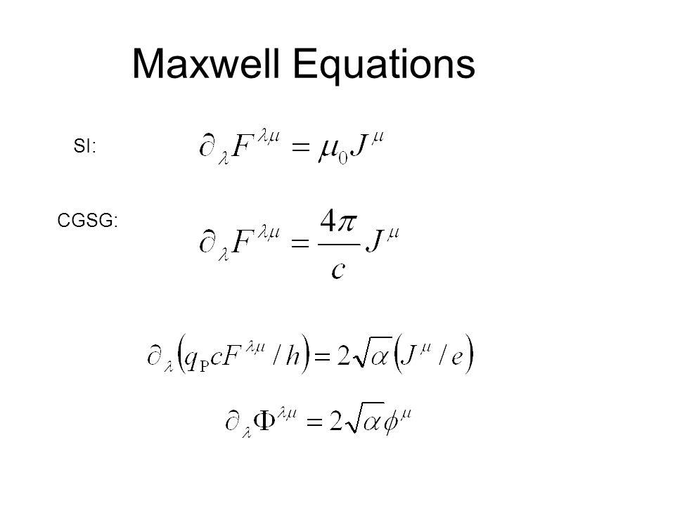 Maxwell Equations CGSG: SI: